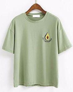 Avocado Embroidery Short Sleeve T-shirt