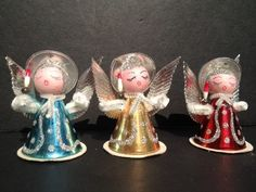 6 Vintage SHINY BRITE Foil Chenille Angel Christmas Ornaments BOTTLE BRUSH TREE | eBay