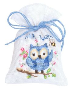 "Blue Owlet Potpourri Bag or Tooth Fairy Bag Cross Stitch Kit. Price about £9 Finished Size: 3¼"" x 4¾"" (8cm x 12cm). Kit contains 18 count Aida pre-finished bag, chart, instructions, needle and DMC stranded cotton threads. Note: Lavender is not included. © Vervaco"