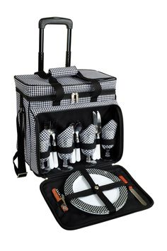 Houndstooth Four Person Removable Wheeled Cart Picnic Cooler on @HauteLook