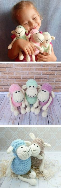 Plush sheep made with the help of this free pattern https://amigurumi.today/amigurumi-sheep-plush-toy-pattern/: