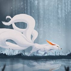 Nine Tails Fox, Nicolas Rix Dark Creatures, Fantasy Creatures, Mythical Creatures, Asian Fox, Fox Spirit, Fox Illustration, Creature Concept Art, Furry Drawing, Fox Art