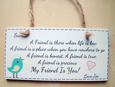 ❤ PERSONALISED shabby chic BEST FRIEND hanging handmade printed gift plaque ❤