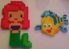 Little Mermaid Ariel & Flounder perler beads by Paloma & Russ Ellis