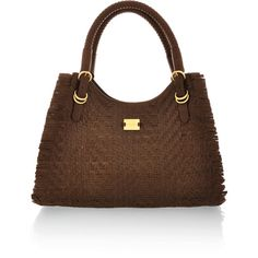 MODALU Bridle Brown Grab ($412) ❤ liked on Polyvore featuring bags, handbags, shoulder bags, purses, bolsas, bolsos, woven leather purse, modalu handbags, metallic purse и brown purse