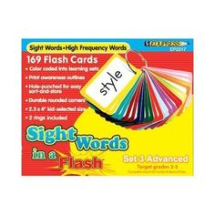 Sight Words In A Flash - Set 3; Grades 2-3; no. EP-2317 by Edupress. $10.88. Unique flash cards help meet the needs of individual student learning levels while keeping materials well organized. Color-coded cards make it easy for students to work at their own pace and build self-esteem as they master sets of sight words. The pull-apart ring system enables students to focus on word groups and easily sort and store cards by color. Set includes 169 cards and 2 storage rings.