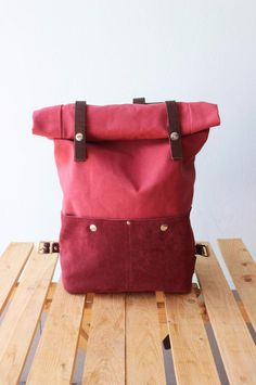 Wollen wir haben: Rucksack aus Canvas und weinrotem Wildleder / red canvas and suede leather backpack with rolltop made by Phestyn bags and accessories via DaWanda.com