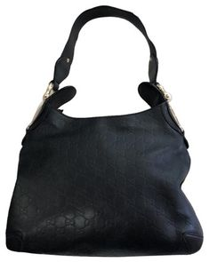 984ba2d1ee4400 Gucci Horsebit Signature Black Leather Hobo Bag 60% off retail