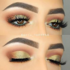 Golden work by @sofia_torress. She used Makeup Geek Eyeshadows in Frappe, Cocoa Bear, Jester, and Shimma Shimma.
