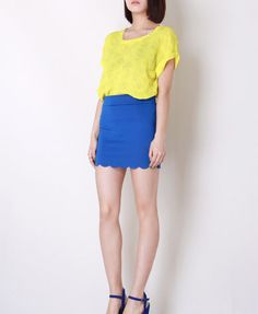 Candy Color Bodycon Skirt with Scallop Hemline