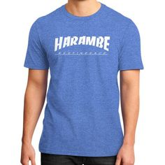 HARAMBE WHITE LOGO District T-Shirt (on man)