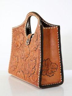 2b5043aeb vintage 1950s western tooled leather bag Pulseras De Cuero, Bolsos De Tela,  Accesorios De