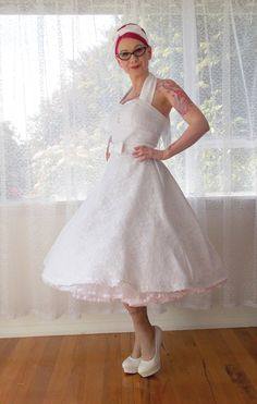 1950s Rockabilly Wedding Dress 'Clarissa' with Lace Overlay, Sweetheart Neckline, Tea Length Skirt and Petticoat - Custom made to fit Rockabilly Wedding Dresses, Red Wedding Dresses, Lace Wedding, Rock Chic, I Dress, Lace Dress, Tea Length Skirt, Figure Flattering Dresses, Couture