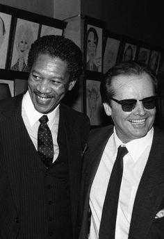 "samuraial: "" Morgan Freeman and Jack Nicholson at the New York Film Critics Circle Awards, "" Morgan Freeman, Hooray For Hollywood, Jack Nicholson, Uber, Cigars, Movies And Tv Shows, Movie Stars, 1980s, Beautiful People"
