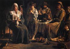 Família camponesa em um interior (Antoine, Louis e Mathieu Le Nain, 1640) Óleo sobre tela, 113 x 159 cm
