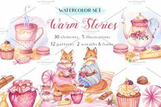 -50%OFF- Warm Stories-Watercolor Set by Sunny Illustrations on @creativemarket