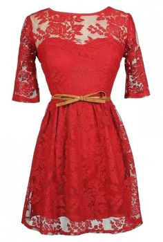 Red Lace Dress, Cute Red Dress, Belted Red Lace Dress, Red Lace Holiday Dress, Cute Holiday Dress, Red Lace A-Line Dress