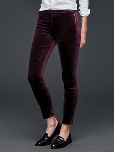 Velvet side-zip pull-on leggings | Gap (NOTE: I OWN THESE IN THREE COLORS.)