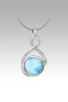 MarahLago Adella Collection Larimar Pendant / Necklace with White Sapphires