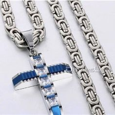 Hand Crafted Iced Out Cross Pendant Necklace in Gold or Silver   Etsy Stainless Steel Necklace, Stainless Steel Chain, Men Necklace, Pendant Necklace, Fendi Purses, Denim And Lace, Chains For Men, Cross Pendant, Pendants