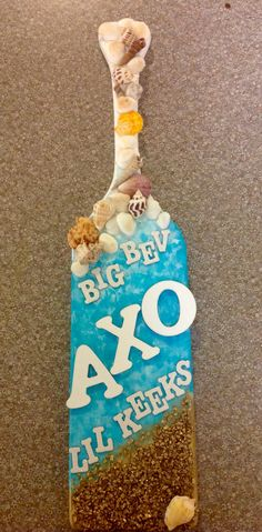 Beach themed paddle for my big! Alpha Chi Omega ΑΧΩ