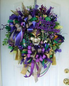 Mardi Gras wreath, custom order , Please read, door wreath $189.99 #Custom #door_wreath #mardi_gras #fleur_de_lis #mardi_gras_mask #handmade #decoration #carneval #new_orleans #wreath #layaway