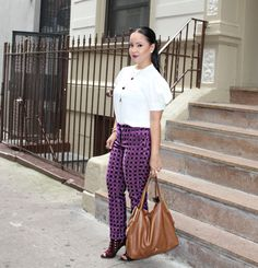 Combine A Few Shades Of Winey Colors And Create A Lovely Violet Punch Autumn Outfit. Perhaps Patterned Pants Paired With An Off-White Puffy Sleeved Blouse?