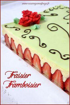 Gateau anniversaire fraisier framboisier