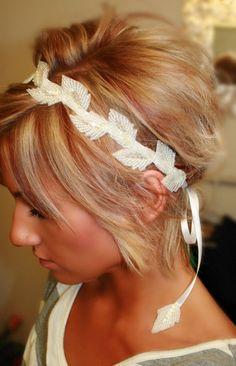 Lovely Leavely Satin Ribbon Headband - BrassLotus