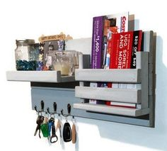 Farmhouse Rustic Mail Organizer with Slotted Bin - 3 Key hook Style - Painted Version - Renewed Decor & Storage