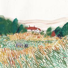 Love the way she draws grass. Illustration by Charlotte Ager Landscape Illustration, Illustration Art, Art Sketches, Art Drawings, Look Vintage, Art Graphique, Art Sketchbook, Oeuvre D'art, Art Inspo