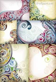 Фоны с восточными узорами в векторе | Floral Backgrounds
