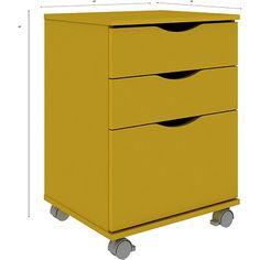 Gaveteiro Colors 3325A 2 Gavetas e 1 Gavetão Amarelo - Madesa - A65 x L48 x P44 - Submarino - R$ 114,90