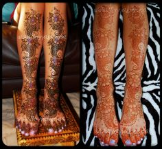 henna, first application with added colour and decoration, then after