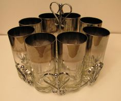 Silver Ombre Queen's Lusterware 8 Glasses and Caddy by gaelianna, $78.00