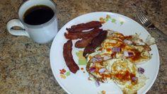 Day 4 breakfast: eggs, bacon, black joe