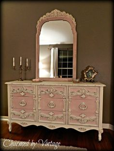 Chalk Paint Decorative Paint in Antoinette and Old White!  Wow!  Beautiful work by Charmed by Vintage