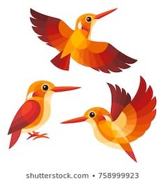 Stylized Birds - Madagascan Pygmy Kingfisher Art Drawings Sketches, Animal Drawings, Castle Cartoon, Art Assignments, Triangle Art, Paper Quilt, Bird Illustration, Glass Birds, Beautiful Birds