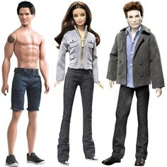Jacob, Bella and Edward from The Twilight Saga