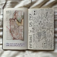 Vintage maps and black and white sketching - travel journal ideas.