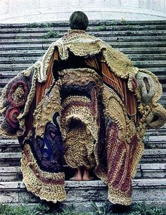 Instead of fur this year.Make a Franken-sweater from old knits for Burningman. Instead of fur this year.Make a Franken-sweater from old knits for Burningman. Textile Texture, Textile Fiber Art, Freeform Crochet, Crochet Art, Knit Fashion, Fashion Art, Fashion Design, Fashion Details, Textiles