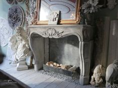 French Louis 16 Limestone Fireplace