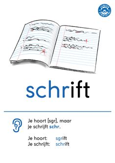 Woorden die beginnen met de letters schr- klinken als sgr-, maar je schrijft schr-. Bijvoorbeeld de woorden: schrift, schroef, schrijf. Op deze woordkaart staat de regel van deze klankwoorden met een duidelijk voorbeeld. Zo kun je het makkelijk onthouden.