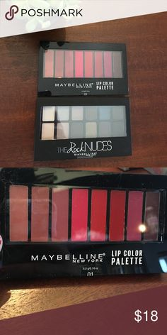 ⭐️❤Two maybelline beauty palettes ❤⭐️ ❤⭐️Two brand new Maybelline beauty palettes .. one eyeshadow palette in the rock nudes , and new lip color palette! must haves ! ❤⭐️ Maybelline Makeup