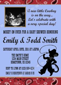 Personalized Cowboy Western Shower Invitations