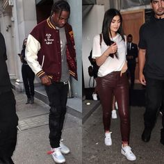 Travis Scott Steps Out With Kendall Jenner Wearing Doublet Jacket And Off-White X Nike Sneakers Kardashian Jenner, Kendall Jenner, Kylie Jenner Pictures, Doublet, Travis Scott, Off White, Personal Style, Bomber Jacket, Sneakers Nike