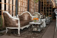 A close up of our vintage couches on our patio. #couches #victorianstyle #vintage