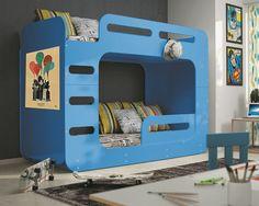 Etagenbett MAX 2 Blau 200/90cm + Matratzen Inkl.   Etagenbetten   INTERBEDS