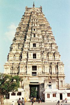 hampi - virupaksha temple - gopuram seen from courtyard