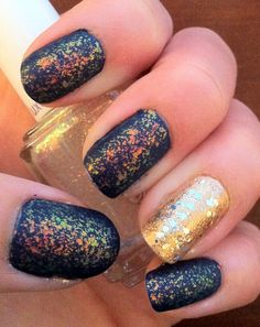 Matte iridescent on navy & silver on gold. nails. nail art.